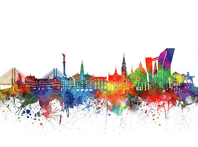 Abstract Skyline Royalty-Free and Rights-Managed Images - Copenhagen Skyline Watercolor by Bekim M
