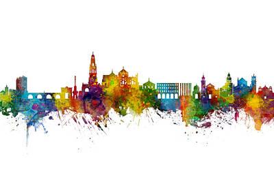 Digital Art - Cordoba Spain Skyline by Michael Tompsett