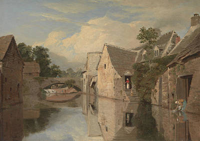 Painting - Cottages By A River by William Linton