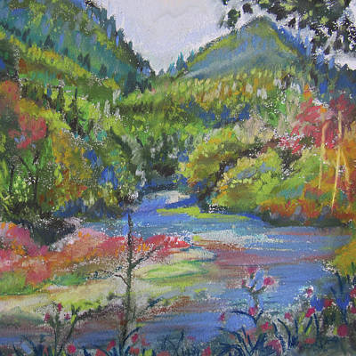Pastel - Country River by Jean Batzell Fitzgerald