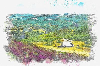 Black And White Horse Photography - Countryside picnic -  watercolor by Adam Asar by Adam Asar