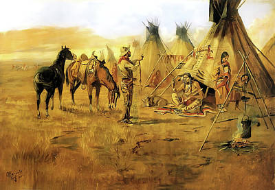 Painting - Cowboy Bargaining For An Indian Girl by Charles Russell