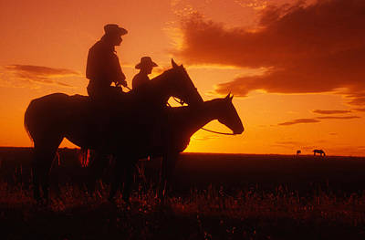Soap Suds - Cowboys at Sunset in Montana by Carl Purcell