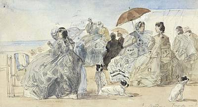 Abstract Graphics - Crinolines on the Beach at Trouville, 1865 by Eugene Boudin