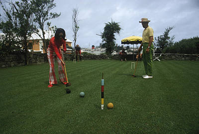 Two People Photograph - Croquet by Slim Aarons