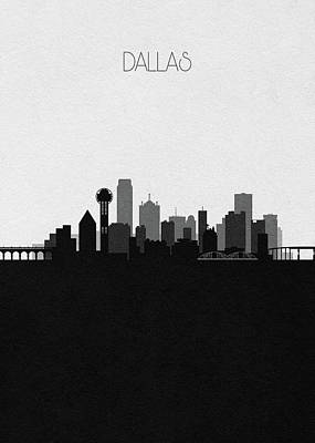 Digital Art - Dallas Cityscape Art V2 by Inspirowl Design