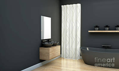 Digital Art - Dark Bathroom Interior by Allan Swart