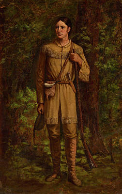 The Alamo Wall Art - Painting - Davy Crockett by William Henry Huddle