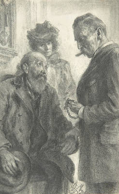 Drawing - Doctor And Patient by Adolph Menzel