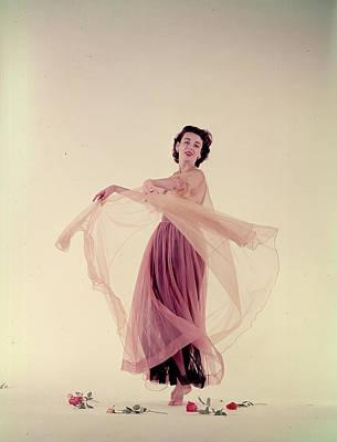 Photograph - Dorian Leigh In Nightgown by Gjon Mili