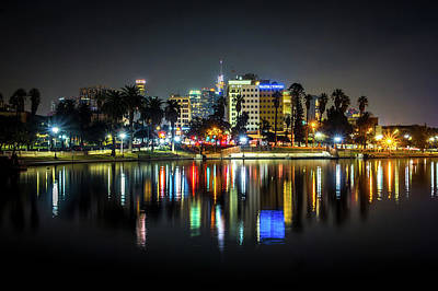 Photograph - Downtown Los Angeles Skyline At Night by Alex Grichenko