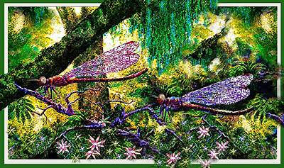 Digital Art - Dragonflies by Hartmut Jager