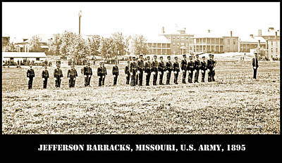 Photograph - Drilling Soldiers, Jefferson Barracks, U.s. Army, C. 1895 by A Gurmankin