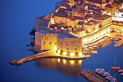 Miles Davis - Dubrovnik harbor and strong defense walls aerial view by Brch Photography
