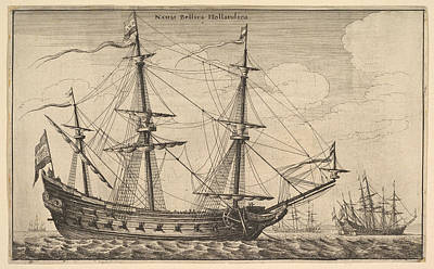 Drawing - Dutch Warship by Wenceslaus Hollar