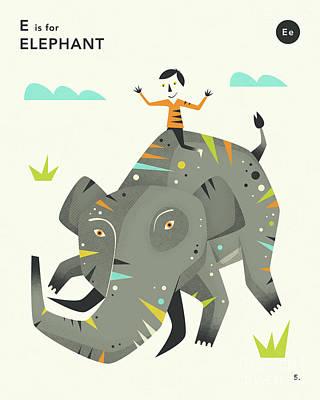 Illustration Digital Art - E Is For Elephant 2 by Jazzberry Blue