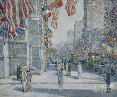 Painting - Early Morning On The Avenue In May 1917 by Childe Hassam