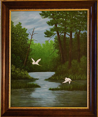 Painting - Egrets by Gloria Johnson