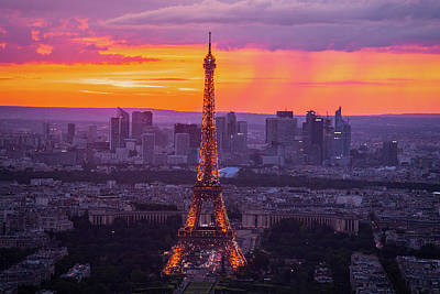 Paris Skyline Royalty-Free and Rights-Managed Images - Eiffel at Sunset by Andrew Soundarajan