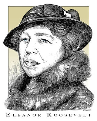 Drawings Rights Managed Images - Eleanor Roosevelt Royalty-Free Image by Greg Joens