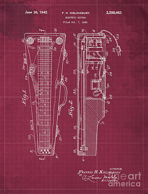 Royalty-Free and Rights-Managed Images - ELECTRIC GUITAR Patent Year 1940 by Drawspots Illustrations