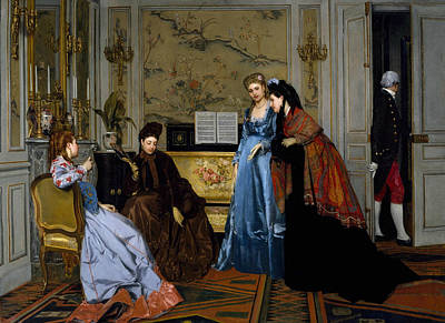 Painting - Elegant Figures In A Salon by Alfred Stevens