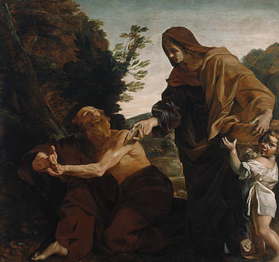 Painting - Elijah Receiving Bread From The Widow Of Zarephath by Giovanni Lanfranco
