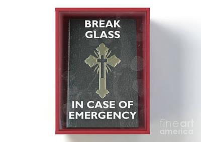 Digital Art - Emergency Red Box With Bible by Allan Swart