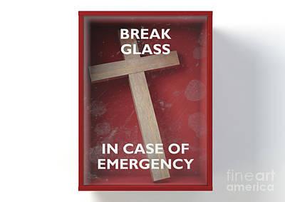 Digital Art - Emergency Red Box With Crucifix by Allan Swart