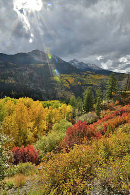Photograph - Fall Colors Beneath Sunshine Mountain Along Highway 145 by Ray Mathis