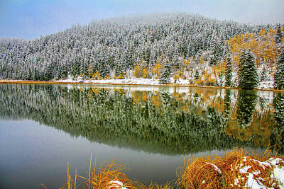 Photograph - Fall Colours And Early Snow, Sibbald Lake Provincial Recreation  by David Butler