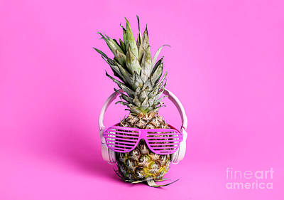 Royalty-Free and Rights-Managed Images - Fashionable  trendy pineapple fruit with headphones and sun glas by Jelena Jovanovic
