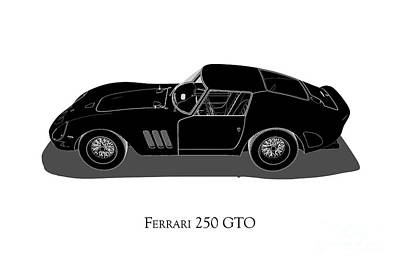 Digital Art - Ferrari 250 Gto - Side View by David Marchal