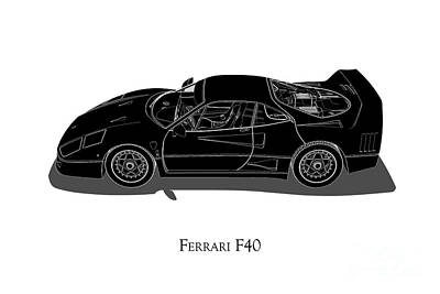 Digital Art - Ferrari F40 - Side View by David Marchal
