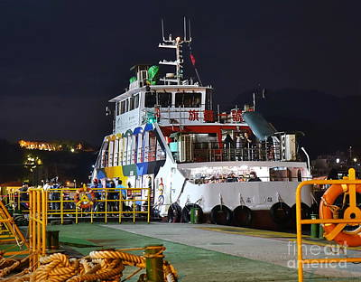 Photograph - Ferry Boat At Night In Kaohsiung Port by Yali Shi
