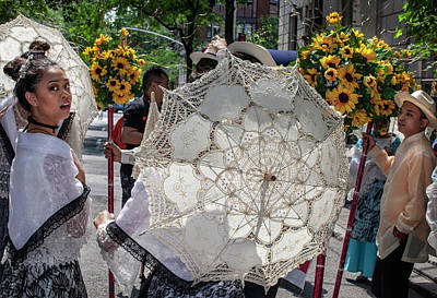 Katharine Hepburn - Filipino Day Parade Marchers Flower and Parasols by Robert Ullmann
