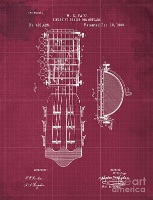 Royalty-Free and Rights-Managed Images - FINGERING DEVICE FOR GUITARS Patent Year 1890 by Drawspots Illustrations