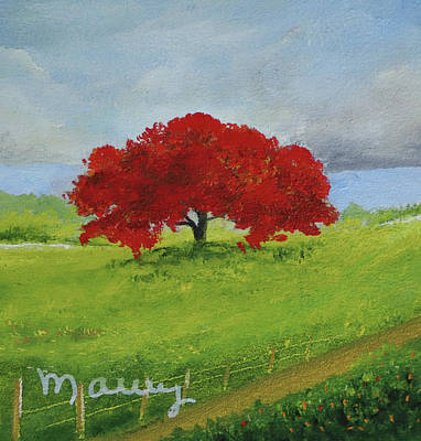 Painting - Flamboyant Near The Road by Alicia Maury