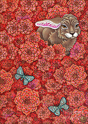 Painting - Flowered Hare 7 by Amy E Fraser