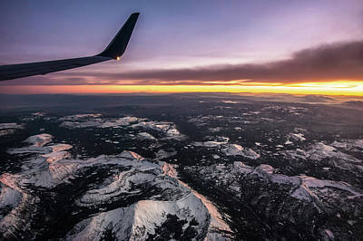 Photograph - Flying Over Colorado Rocky Mountains At Sunset by Alex Grichenko