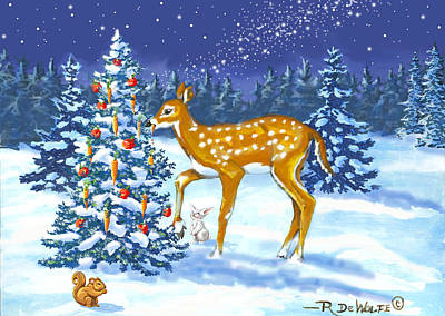 Digital Art - Forest Christmas Feast by Richard De Wolfe