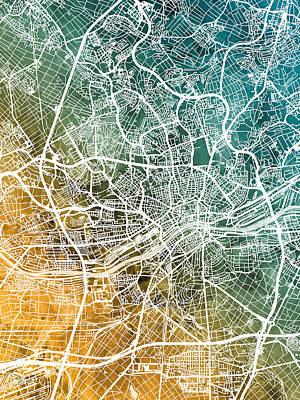 Digital Art - Frankfurt Germany City Map by Michael Tompsett