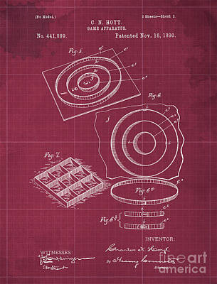 Royalty-Free and Rights-Managed Images - Game Apparatus Vintage Patent Year 1890 Vintage Artwork Bar Decoration by Drawspots Illustrations