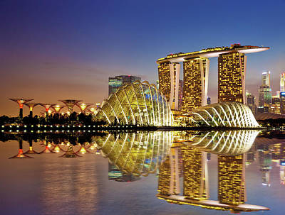 Reflection Photograph - Gardens By Bay by Seng Chye Teo