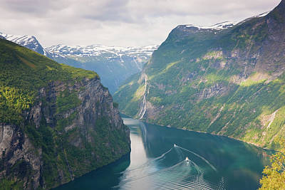 Beauty In Nature Photograph - Geirangerfjord, Western Fjords, Norway by Peter Adams