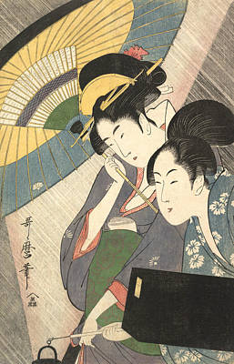 Relief - Geisha And Attendant On A Rainy Night by Kitagawa Utamaro