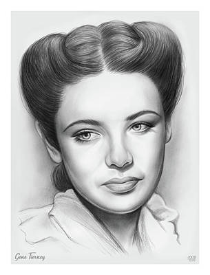 Drawings Rights Managed Images - Gene Tierney Royalty-Free Image by Greg Joens