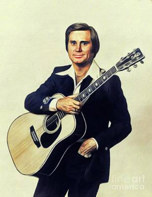 Abstract Male Faces - George Jones, Music Legend by Esoterica Art Agency