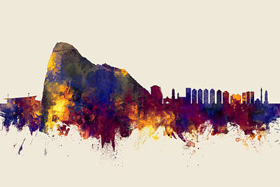 Digital Art - Gibraltar Skyline by Michael Tompsett
