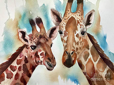 Painting - Giraffes by Hilda Vandergriff